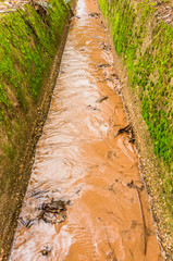 Umweltzerstörung Bachbett Bachlauf Bachbegradigung - Environmental degradation Brook bed Brook course Brook straightening
