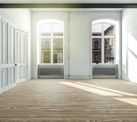 Leere helle Wohnung mit Flügeltüren und 2 großen Fenstern