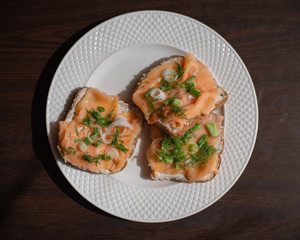 Toast with salmon and cream cheese