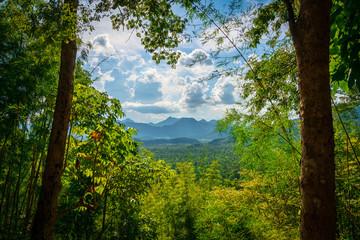 blue sky river lake mountain wildlife Kanchanaburi Thailand