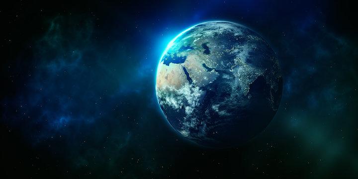 Blauer Planet unsere Erde im Weltall