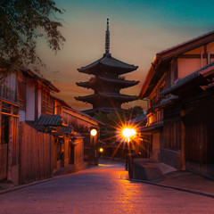 Square-sized photo of Yasaka Pagoda which is a five-story pagoda located to the west of Ninenzaka and Sannenzaka streets in Kyoto City's Higashiyama district, during golden hour right before sunset.
