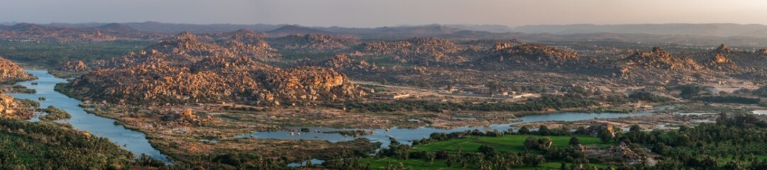 panoramic view at sunset from the monkey temple over hampi india karnakata unesco with his river Wall mural