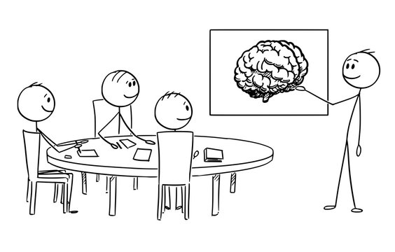 Cartoon stick figure drawing conceptual illustration of business management team on brainstorming , businessman is presenting brain image representing idea and creativity.