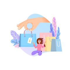 Shopping online concept. Flat design tiny woman and big bags