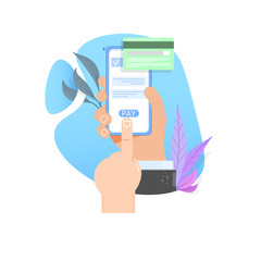 The concept of online payment by card. Hand holding smartphone flat cartoon illustration.