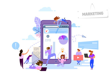 Digital marketing concept, tiny people around devices tablet, laptop