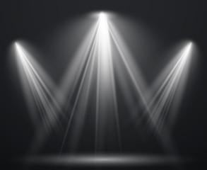Spotlight scene. Light effect spot projector ray studio glow lamp beams shining bright lighting show, scene illumination