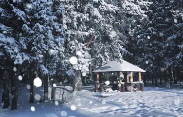 wooden gazebo in forest in the winter snow blizzard