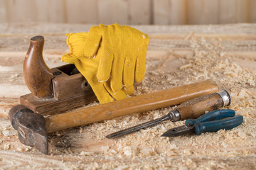 Carpenter tools. working with wood.