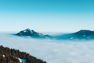 Winter mountain in fog