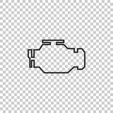 Check engine icon isolated on transparent background. Flat design. Vector Illustration