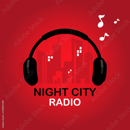 logo night city radio for online radio station, blog, website