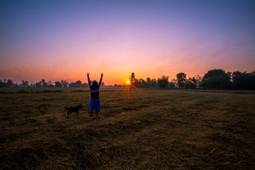 Natural background during the rising sun from the horizon, mountain, wallpaper, twilight light of the sky, bright colors along the rice fields, beauty during travel