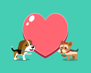 Cartoon character beagle dog and yorkshire terrier dog with big heart for design.