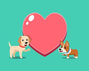 Cartoon character cute corgi dog and labrador retriever dog with big heart for design.