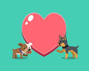 Cartoon character bulldog and doberman dog with big heart for design.