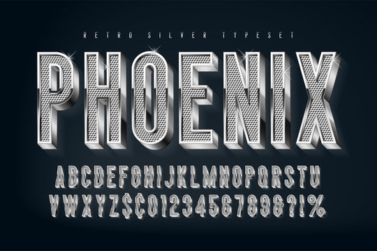 Silver 3d shining font, gold letters and numbers