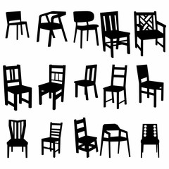 Set of armchairs and chairs and tables set. Architecture interior design home and office furniture. Isolated on white, vector - Vector