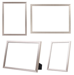 GROUP of SILVER FRAME ISOLATED ON WHITE BACKGROUND.