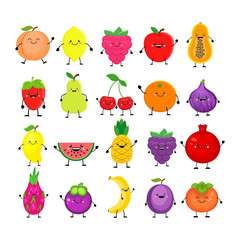 Funny cartoon set of different fruits. Smiling peach, lemon, mango, watermelon, cherry, apple, pineapple, raspberry, strawberry, orange, dragon fruit mangosteen banana plum, pomegranete, persimmon