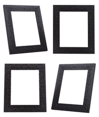 Group of Black frames with small tile decorate isolated on white background.