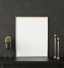 Mock up poster frame closeup in black interior background, 3d render