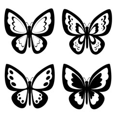 Black and white butterflies silhouettes. Vector backgrounds, icon, prints, textile decoration