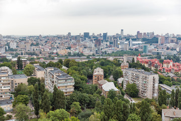 Kiev city skyline from above, downtown cityscape, capital of Ukraine.