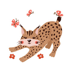 Cute hand drawn lynx isolated on white.