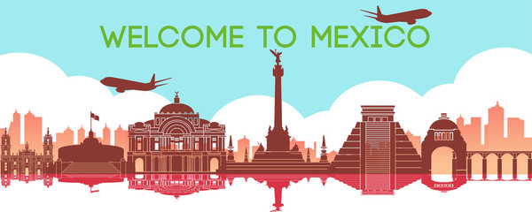 famous landmark of Mexico,travel destination,silhouette design, gradient color