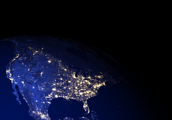 The Earth from space at night. North America. Elements of this image furnished by NASA.