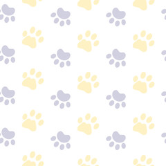 Vector seamless paw pattern. Pet background. Can be used for wrapping paper for shop zoo, web, design banners, print on clothes for boys and girls. EPS10. Veterinary backdrop.