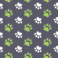 Vector seamless pattern with dog paw. Pet background. Can be used for wrapping paper for shop zoo, web or design of banners, print on clothes for boys and girls. EPS10.