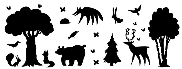 Silhouette of forest animals and forest. Bear, wolf, fox, hare, squirrel, hedgehog, deer, butterflies, birch, oak, fir-tree, spruce, bird, crow.