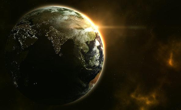 Planet Erde im Sonnenaufgang mit Galaxie