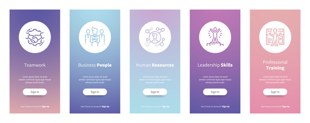 Teamwork, Business people, Human resources, Leadership skills, Professional training Vertical Cards with strong metaphors.