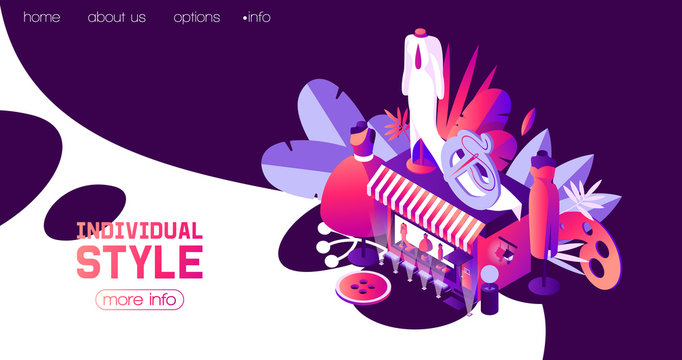 Landing page for individual sewer or woman clothes atelier in dark blue night scene. Vector concept isometric illustration good for web pages and fashion promotion