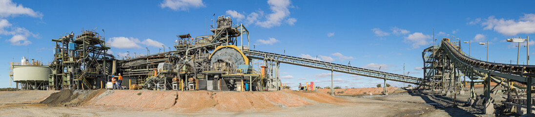 Panoramic view of a copper mine head with equipment in NSW Australia