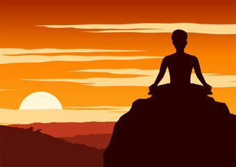 India Yogi perform yoga, a kind of relax , around with nature on sunset time,silhouette design