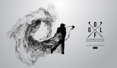 Abstract silhouette of a golf player, golfer on the white background from particles, dust, smoke, steam. Golfer kicks the ball. Background can be changed to any other. Vector illustration