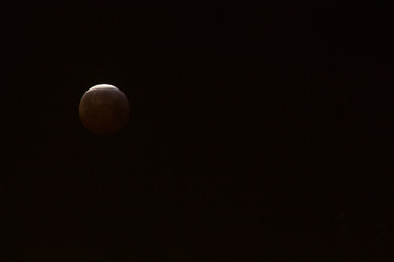 The Super Blood Wolf Moon eclipse of January 21, 2019 taken in Maastricht, the Netherlands at the vrijthof square. The moon only without people and buildings