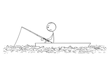 Cartoon stick figure drawing conceptual illustration of fisherman fishing on dory or small boat on polluted water full of plastic waste or garbage.