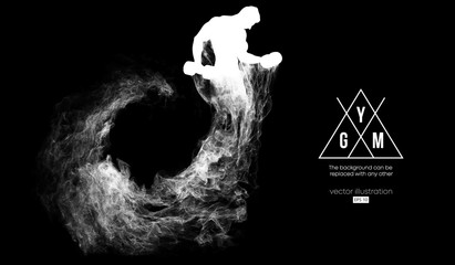 Abstract silhouette of a bodybuilder. gym logo on the dark, black background from particles, dust, smoke, steam. Bodybuilder training. Background can be changed to any other. Vector illustration Wall mural