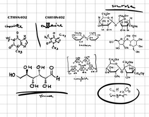 Hand drawn chemical formulas.   Scientific and education background.