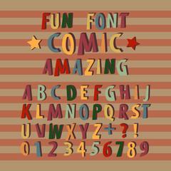 Colorful comic font alphabet in style of comics. Creative fun cartoon typography