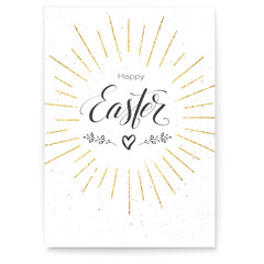 Poster Happy Easter festive greeting. Design of calligraphy lettering on white background. Handwritten text, doodle with golden glittering rays. Retro label for religious holiday. Vector illustration