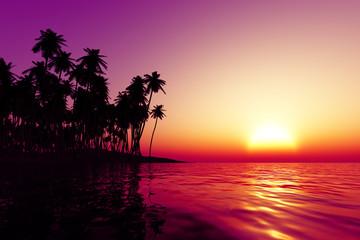 orange sunset over tropic sea