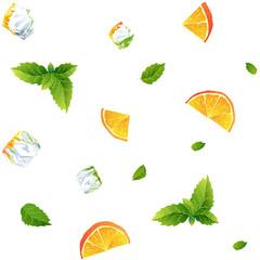 Seamless pattern, fresh orange, mint and Ice cubes
