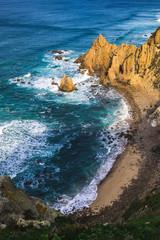 Beautiful ocean view of the Praia de Ursa, a wild place near touristic Cabo da Roca lighthouse, Portugal